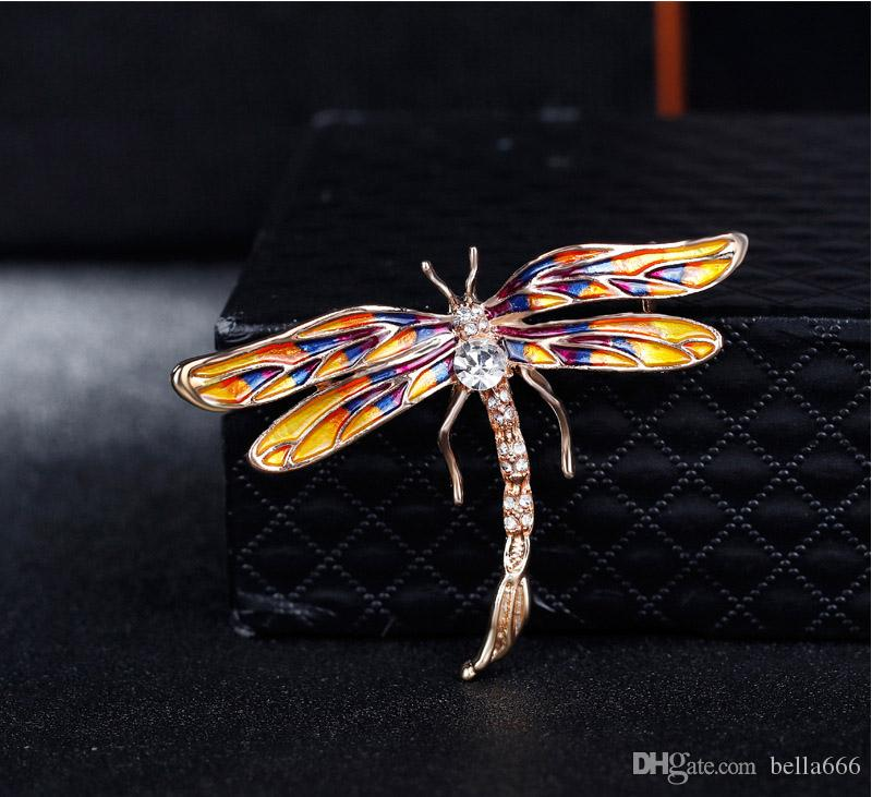 Insect Series High Grade Women Alloy Personality Painted Enamal Rhinestone Brooches Pins Dragonfly Corsage Girl Accessory