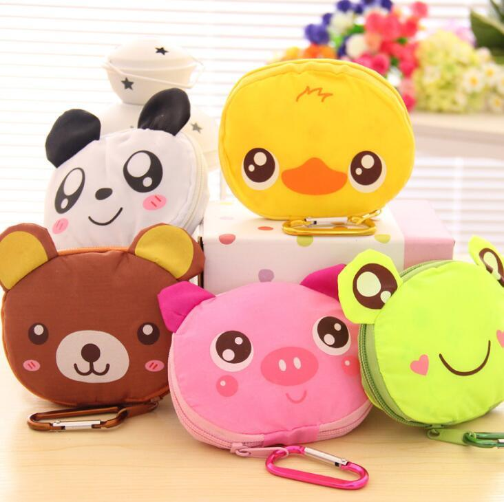 Cartoon Animal Folding Shopping Tote Reusable Eco Bag Panda Frog Pig Bear shopping bag Grocery Reusable Handbags