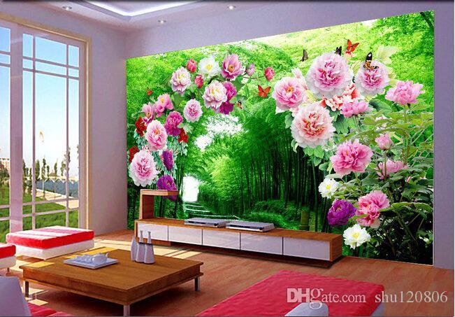 3 차원 방 벽면 맞춤형 벽화 꽃밭 복도 방 장식 그림 3 차원 벽 벽화 벽지 3 차원