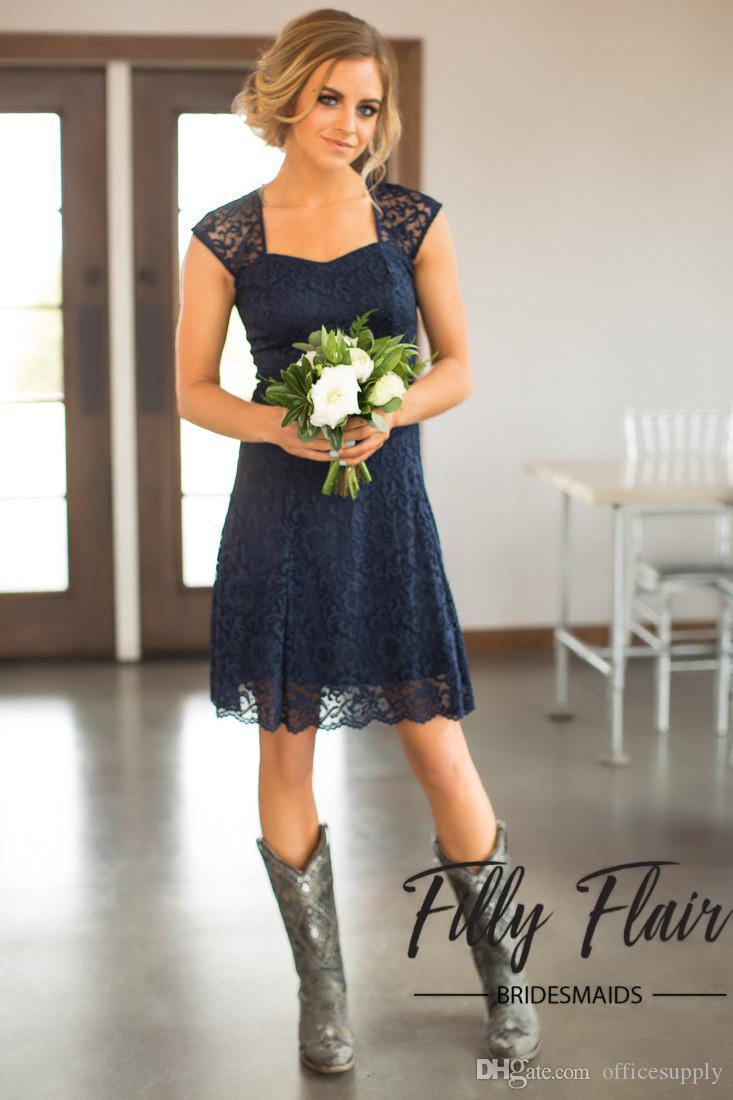 Ülke 2021 En Yeni Onur Elbise Wedding ucuz mücevher Backless Diz Boyu Maid için Lacivert Dantel Kısa Gelinlik