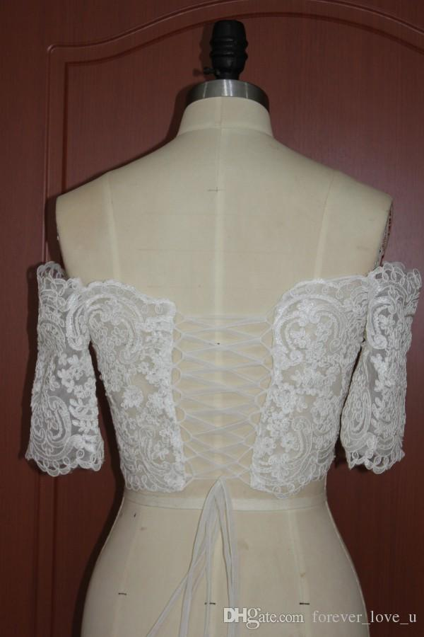 Real Pictures Off the Shoulder Lace Bridal Jackets Short Sleeves Wedding Party Mini Boleros Wraps Shrug Lace-up Back