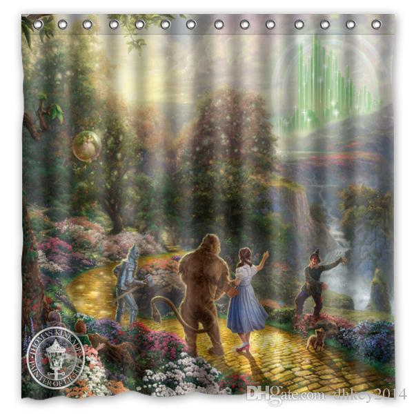 Custom Wizard Of Oz Painting Fans Printed Size 180cmx180cm 100 Waterproof Polyester Shower Curtain Curtains Bathroom Products Bath Online With