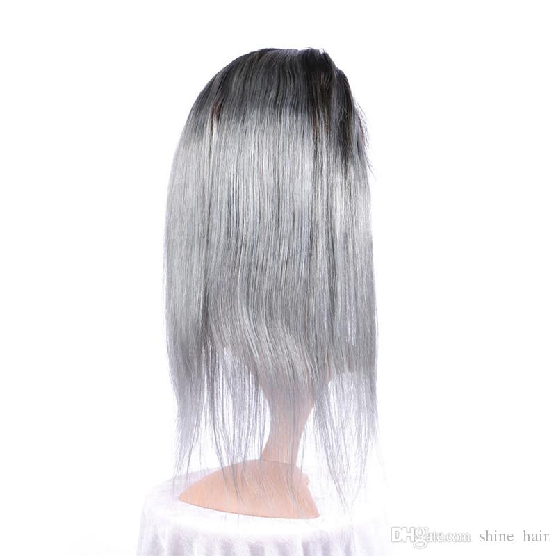 Dark Roots Silver Grey Ombre 360 ​​Frontal con Bundles sedoso recto 1B / gris Two Tone Ombre Virgin cabello humano con 360 Lace closure