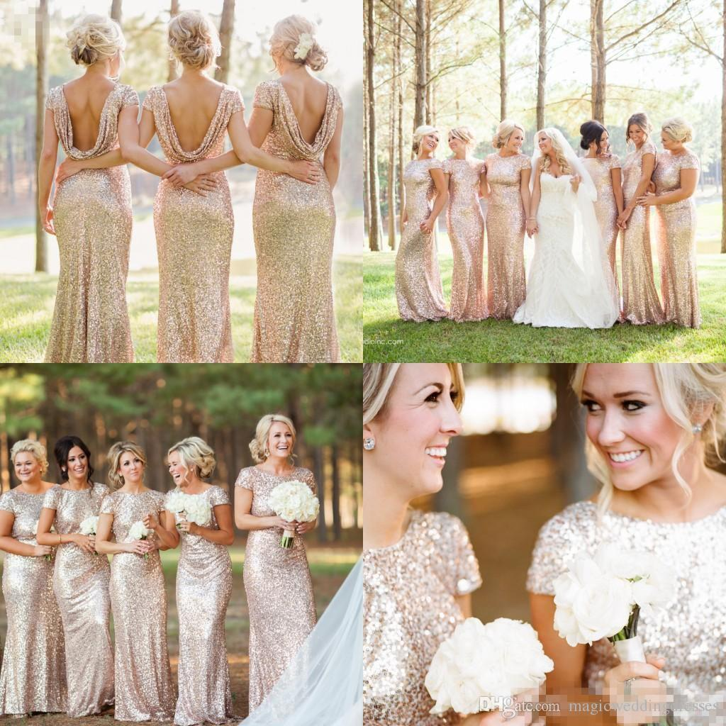Sparkly Rose Gold Cheap 2016 Mermaid Bridesmaid Dresses With Short Sleeve Sequins Backless Long Beach Wedding Party Gowns Gold Champagne