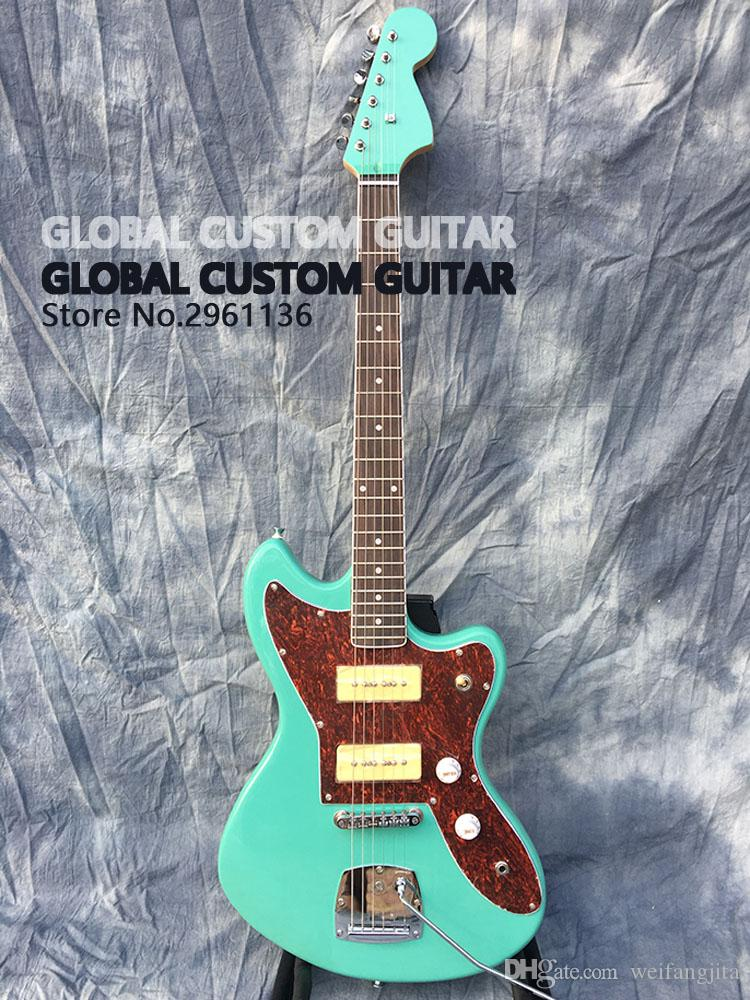 Jazzmaster deluxe Jaguar Electric guitar,S-P90 pickups,color of the green  sea,All color Available,Real photo showing,free ship!