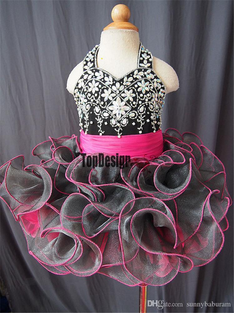 Wholesale New 2017 Gorgeous Hot Sale Baby Girls Halter pageant Tutu Dress Toddler Girls Ruffles Crystal Short Ball Gowns InfantFashion Gowns