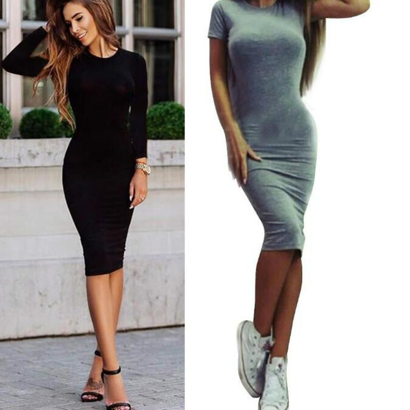 a8660925c7d0 2017 New Fashion Casual Summer Autumn Women Dress Elegant Ladies Sexy Slim  Solid Color Short Sleeve Office Bodycon Dresses Female Vestidos White  Dresses For ...