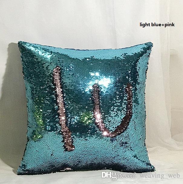 Hot Cushion Decorative Sequins Mermaid Pillowcas Double Color Satin Custom Types Of Decorative Pillows
