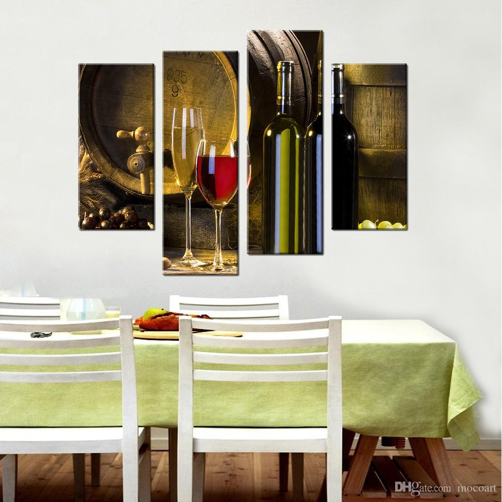 Impressions Sur Toile Vin Rouge Baril et Verre Mur Art Cuisine Décor Baril Bouteille Image Toile Peinture 4 Pièces Moderne Décor À La Maison Encadré