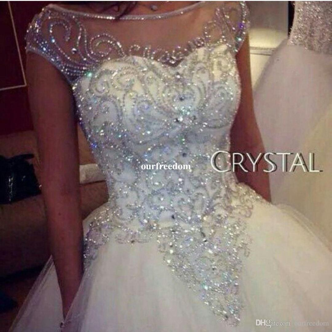 Ball Gown Wedding Dresses New Gorgeous Dazzling Princess Bridal Real Image Luxurious Tulle Handmade Rhinestones Crystal Sheer Top