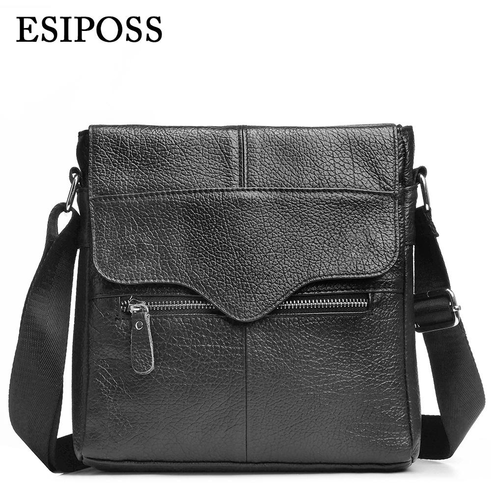 5e71af816d5f Wholesale- ESIPOSS Brand Men Messenger Bags Genuine Cow Leather Men s  Crossbody Shoulder Bags Famous Designer Mens Business Leather Bags Bag  Genuine Brand …