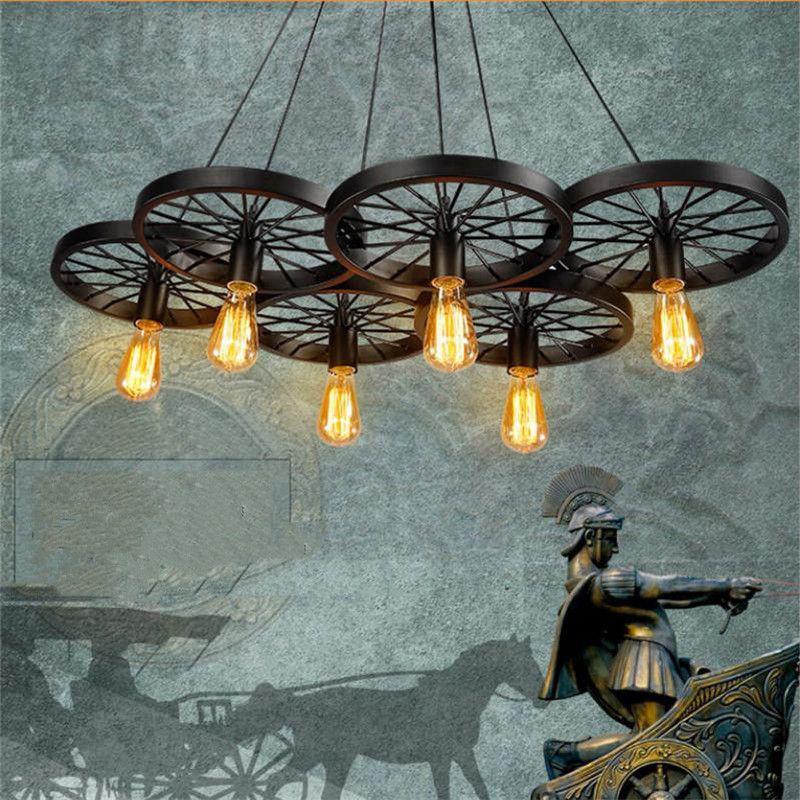 Loft retro Iron light Bicycle Wheels pendant lights Vintage ceiling lamp E27 Vintage Light Bulb ST64 Edison Bulb pendant light Droplight