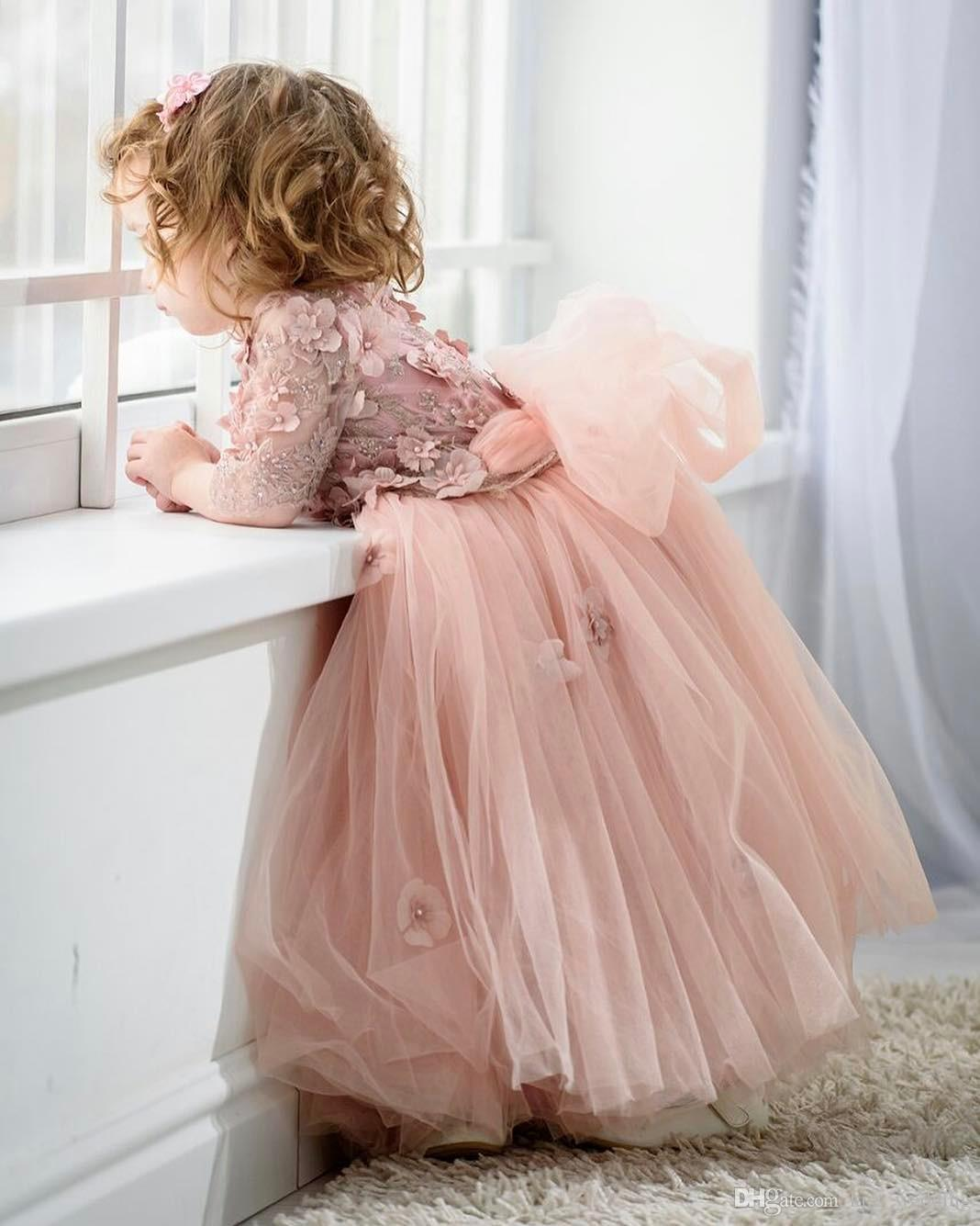 Beauty Toddler Pageant Prom Dress Floor Length Graduation Gown Flowers Handmade Junior Bridesmaid Dresses Blue Pink Tulle Custom Made