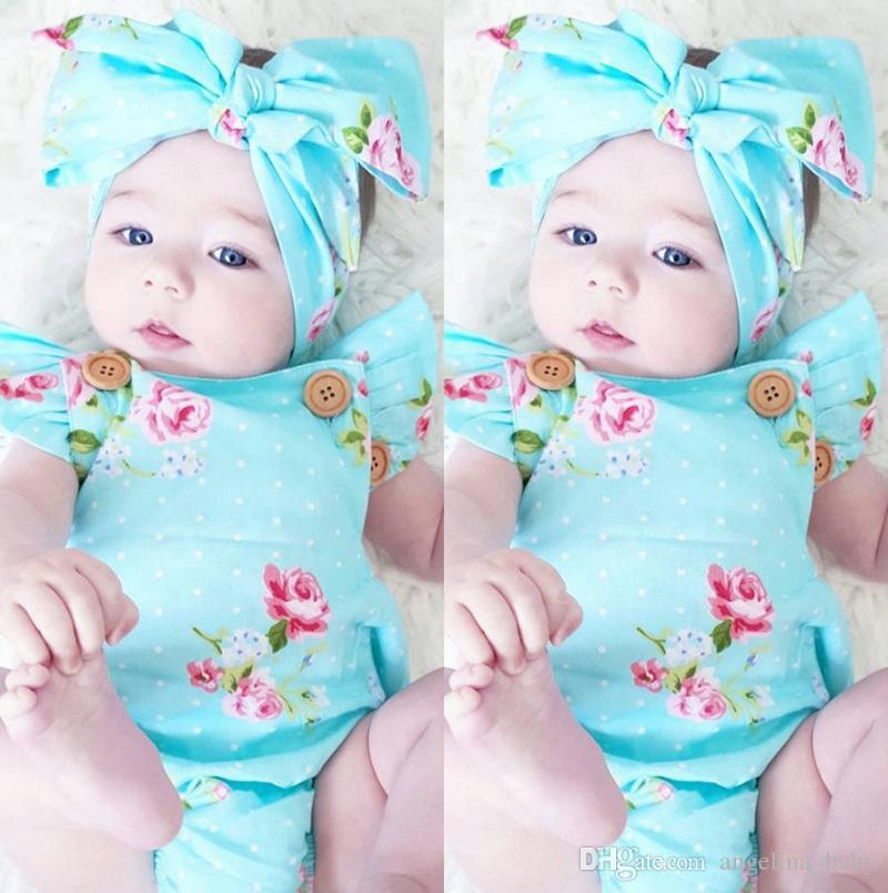 INS hot 2017 Baby girl kids toddler Summer set outfits Rose floral Romper Onesies Diaper Covers Jumpsuits Lace Ruffles + Bow Headband