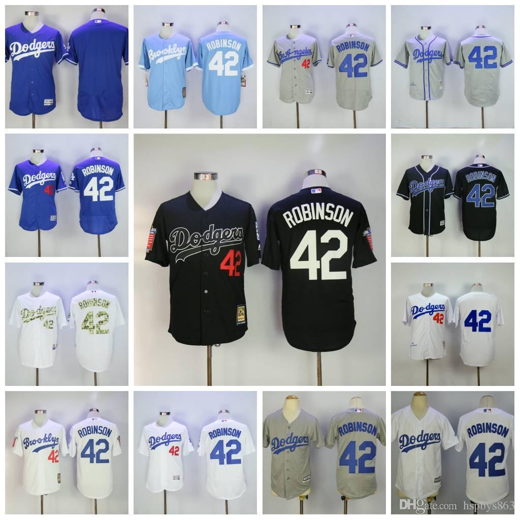 108ee32b ... Mens Los Angeles Dodgers 42 Jackie Robinson Baseball Jerseys Majestic  Grey White Blue Black Flex Base 2016 New 1955 Throwback ...