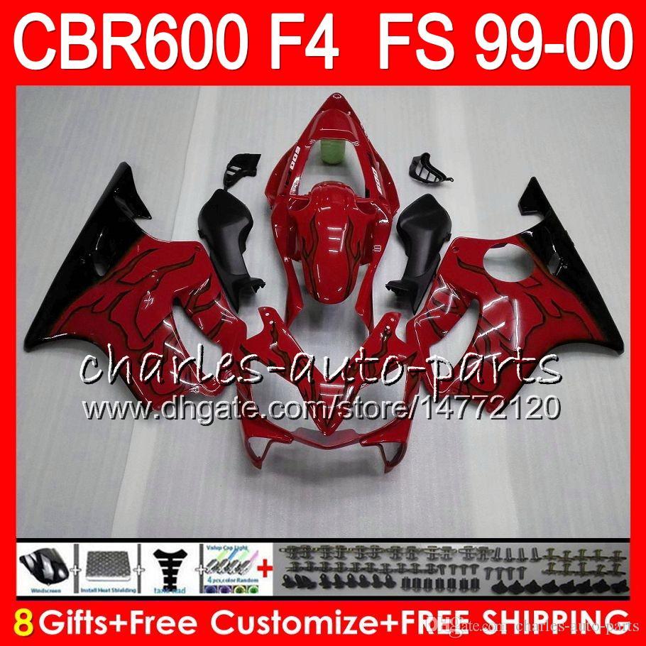 8Gifts 23 kleuren carrosserie voor HONDA CBR 600 F4 99-00 CBR600FS FS 30HM7 TOP rood zwart CBR600 F4 1999 2000 CBR 600F4 CBR600F4 99 00 Fairing Kit