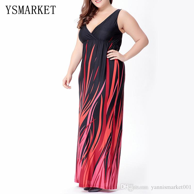 2017 Fire Print Women Plus Size Dress High Waist 6XL Summer Elegant Party  Vestidos Red Sexy Tank V Neck Club Maxi Dress 0066 Red And Black Casual  Dresses ... 7ef1607fa428