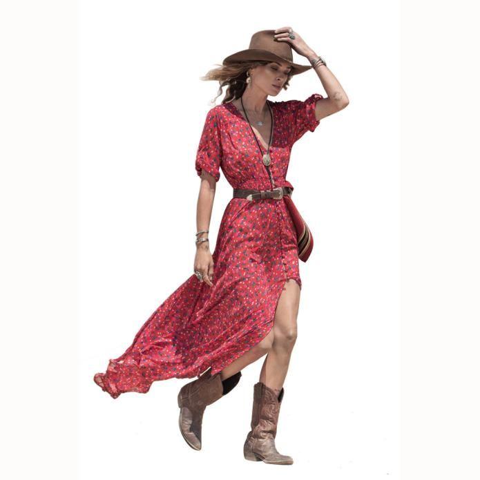 Dress da donna stile estivo con scollo a V Collo floreale Stampa floreale Chiffon Maxi Dress Casual Boho Abiti da festa Abiti da spiaggia Vestidos Abito da spiaggia