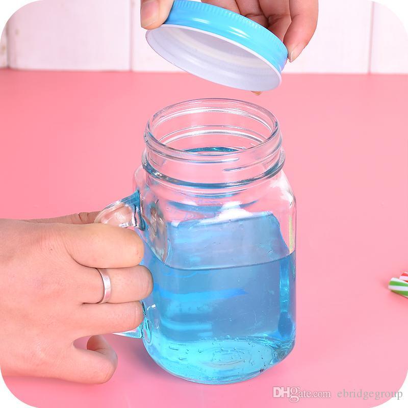 old fashion drinking glasses mason jar mugs with handle tin lid and plastic straws mason jar glass from 863 dhgatecom - Mason Jar Drinking Glasses