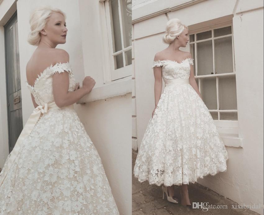 2017 Full Lace Wedding Dresses Off Shoulder Vintage Ankle