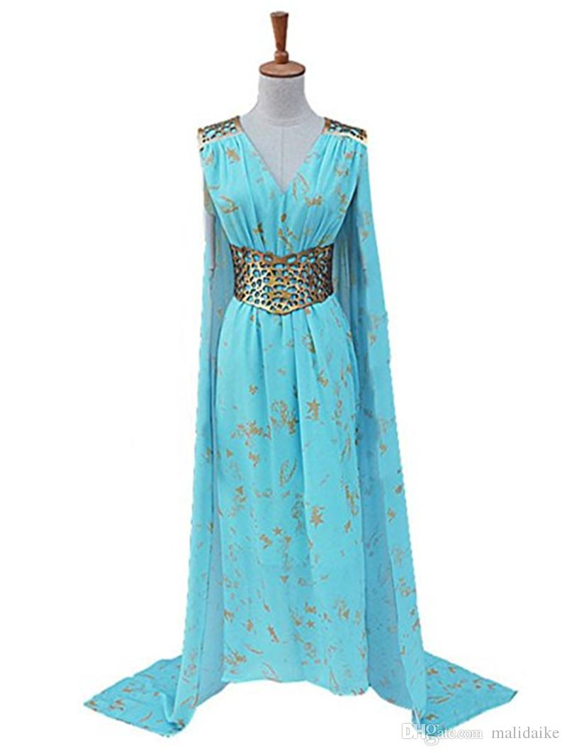 Malidaike Game Of Thrones Womens Halloween Blue Dress Cosplay ...