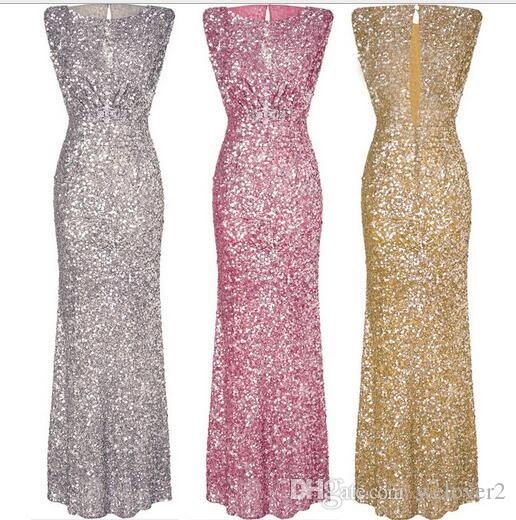 978685dd92ce6 Sexy Sleeveless Backless Chian Sequin Maxi Dress Women Gold/Pink ...