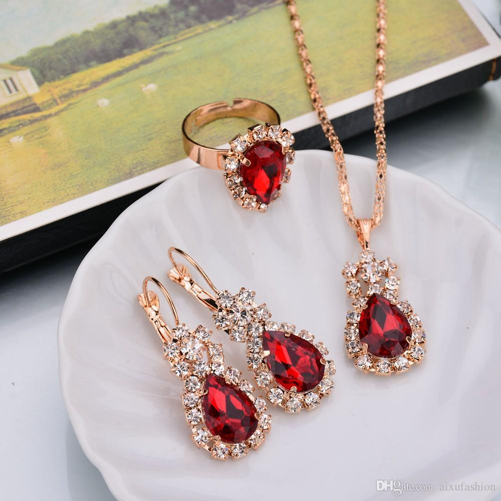 Fashion Jewelry Sets Crystal Diamond Earrings Pendant Necklaces Rings Set for Women Girl Party Gift Personality Shiny Bridal Jewelry