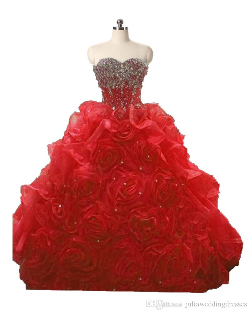 2017 Sexy Sweetheart Crystal Ball Gown Quinceanera Dress with Beading Flowers Organza Plus Size Sweet 16 Dress Vestido Debutante Gowns BQ80