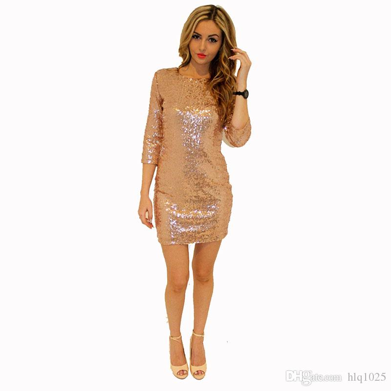 0810b3ec Champagne Gold Prom Night Club Lady Dress Sparkle Glitter Sexy Sequin Women  Backless Dress Womens Knit Dress Summer Dress Boutique From Hlq1025, ...