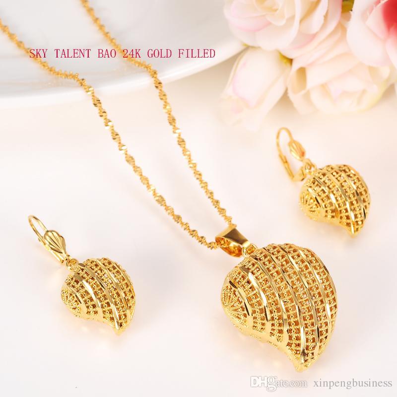 مجموعات المجوهرات الخوخ القلب قلادة القلائد الكلاسيكية أقراط مجموعة المهر 24K غرامة الذهب الخالص GF أفريقيا العربية زفاف العروس