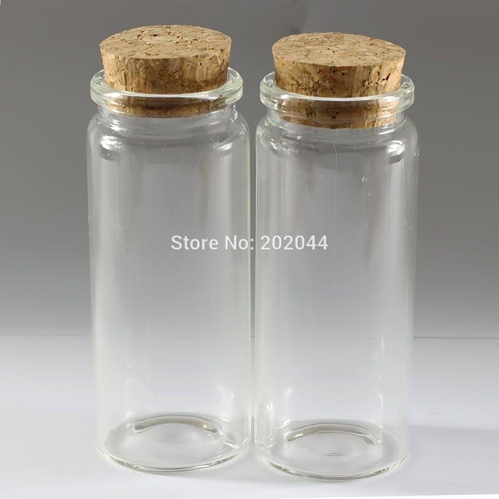 16126755d364 Wholesale- 1pcs 65ml 37*90mm 1.46*3.54 in Small Glass Bottles Vials Jars  With Cork Stopper Decorative Corked Tiny Mini Wising Glass Bottle