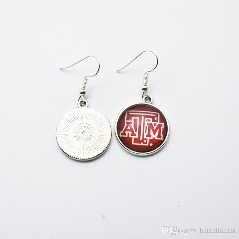 Charm Sports Team NCAA Texas A&M Aggies Glass Stud Earrings/Drop Earrings For Women Jewelry Gift