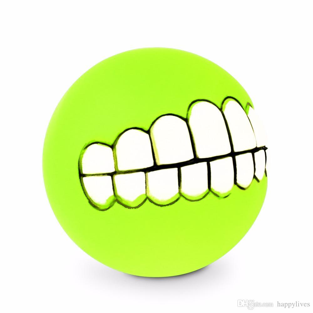 Pet Dog Cachorro Engraçado Dentes Da Bola De Silicone Chew Som Cães Jogar Novo Engraçado Animais de Estimação Cachorro Cachorro Bola Dentes Brinquedo Do Silício