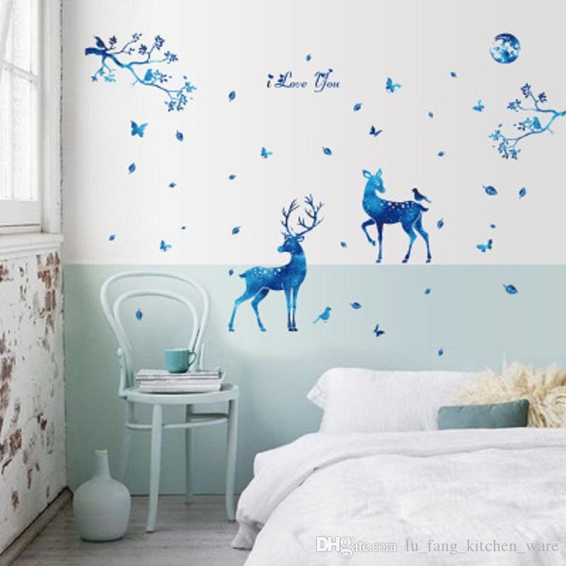 60 x 90cm Blue Starlight Deer Home Decor Wall Stickers Nordic Modern Guest Bedroom TV Background Fashion Decoration PVC Stickers Toys Gifts