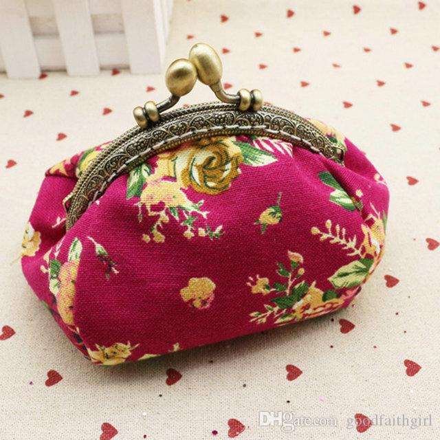 High quality canvas rose flower clutch coin purse key holder wallet hasp small coin change gifts bag xmas present handbag