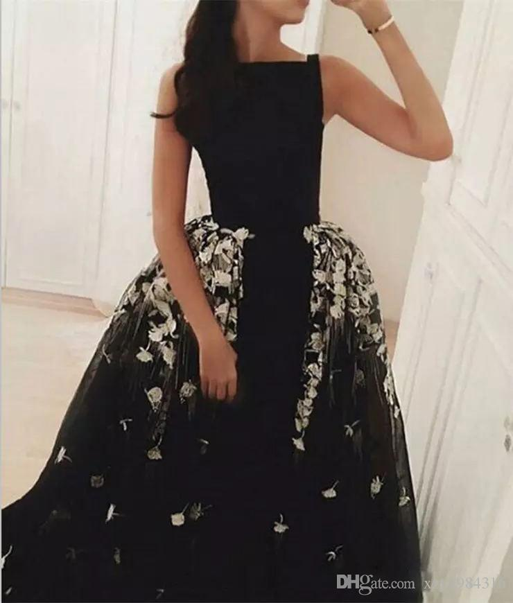 Fashion Detachable Over-skirt Prom Dresses Glamorous Black Mermaid Lace Appliques Party Dresses Tulle Women Formal Wear Evening Gowns Cheap