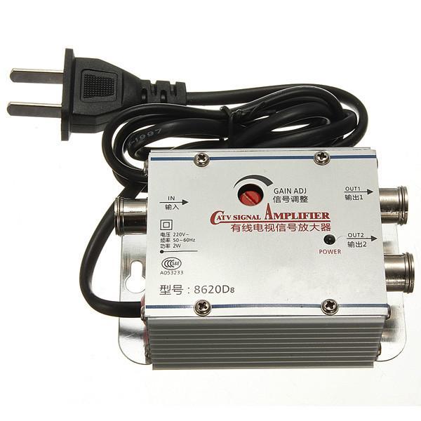 Freeshipping 2 Way CATV Cable TV Signal Amplifier AMP Antenna Booster  Splitter Set Broadband