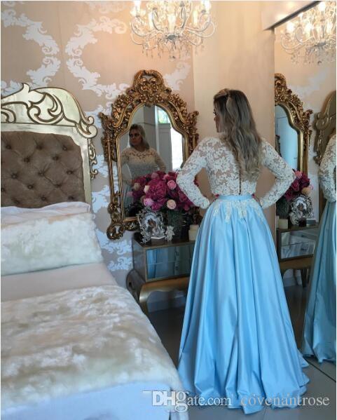 Abiti da ballo lunghi bianchi e blu royal 2017 maniche lunghe 2017 Abiti da sera 2016 Abiti di pizzo occasioni speciali 2k15