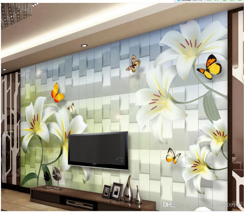 3d Customized Wallpaper White Lily Fresh And Elegant Butterfly Tv Sofa  Background Wall 3d Murals Wallpaper For Living Room High Resolution  Wallpaper For ... Part 85