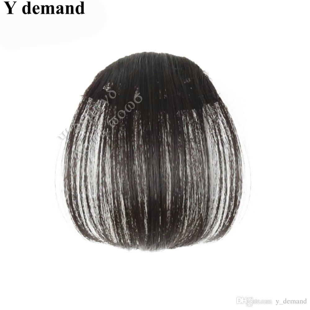 Flequillo natural Bang Bangs Negro / Marrón Claro / Marrón Oscuro Clip en Flequillo Flequillo sintético es Moda Y demanda