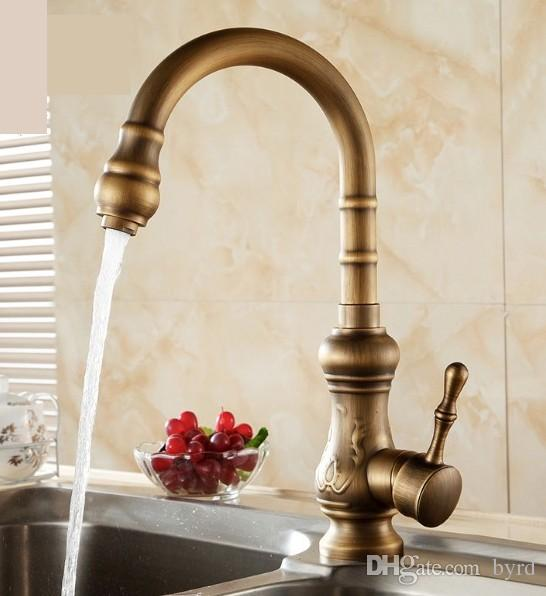 Discount Antique Brass Kitchen Faucet Bronze Finish,Water Tap Kitchen  Swivel Spout Vanity Sink Mixer Tap Single Handle T01004 From China |  Dhgate.Com