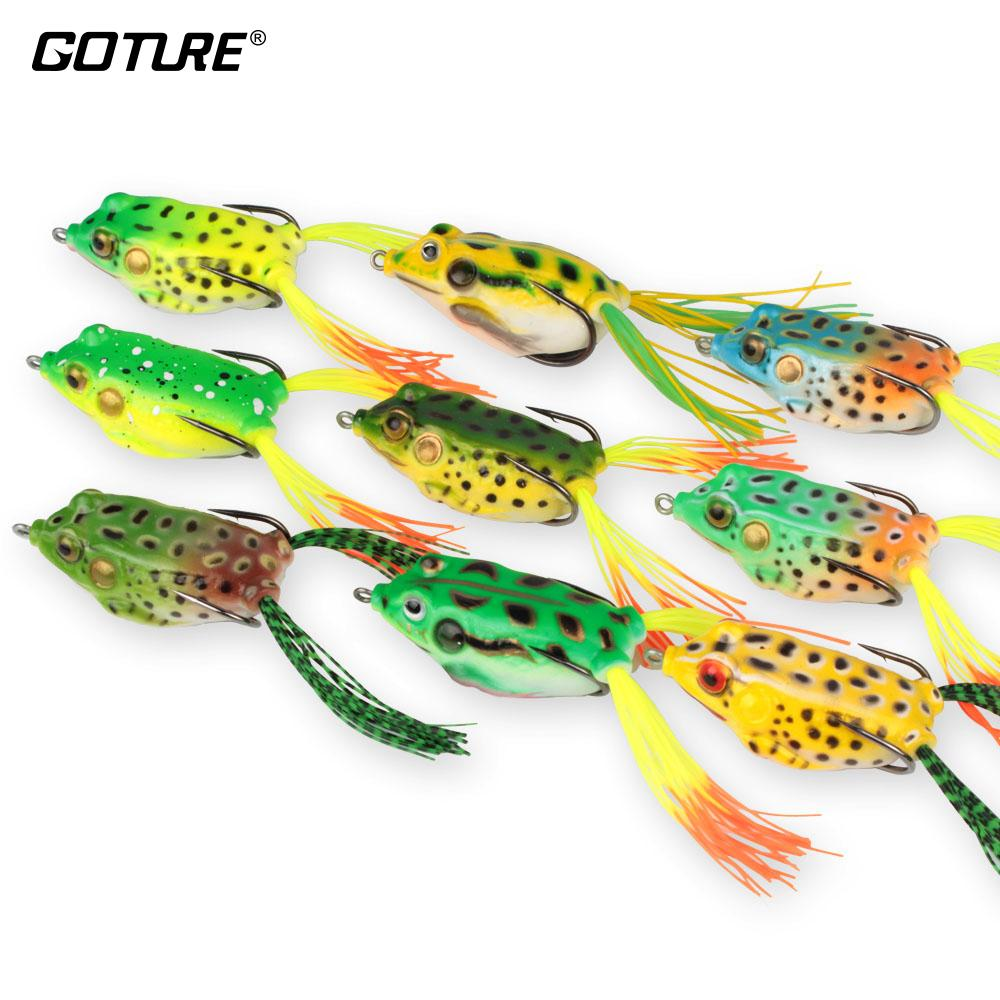 Goture 9Pcs/Lot Soft Fishing Lure Artificial Frog Lure 5.45Cm /12.3G Crankbait Topwater Fishing Bait With Sharp Hooks For Fishing