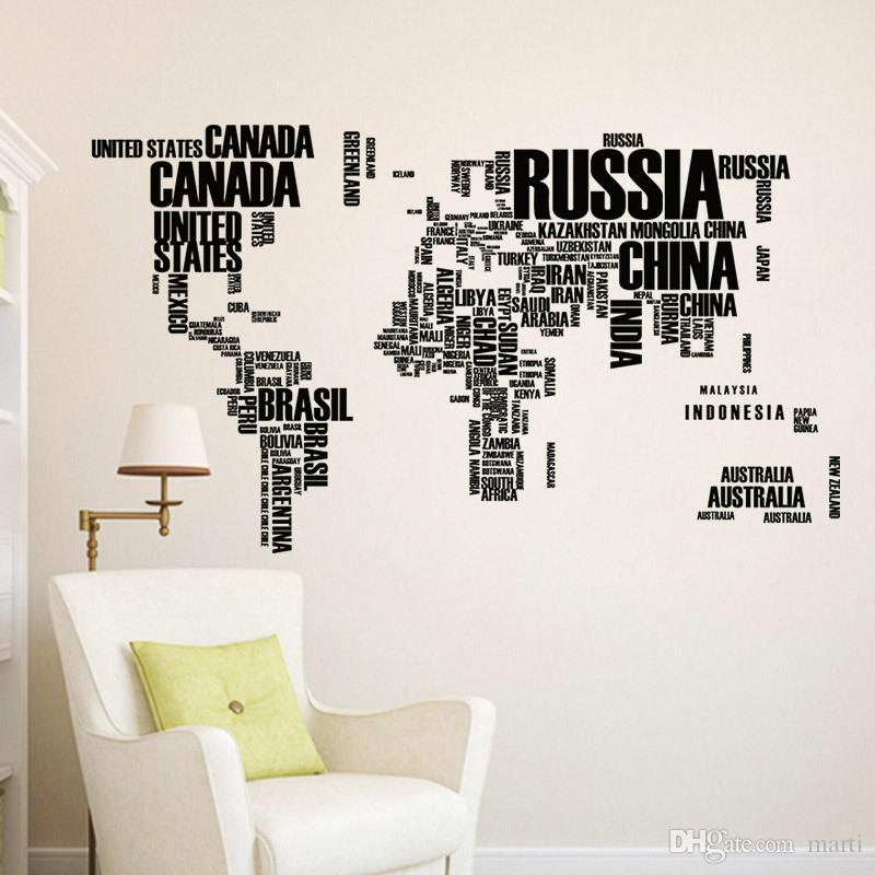 Colorful Letters World Map Wall Stickers Living Room Home - World map wallpaper decal