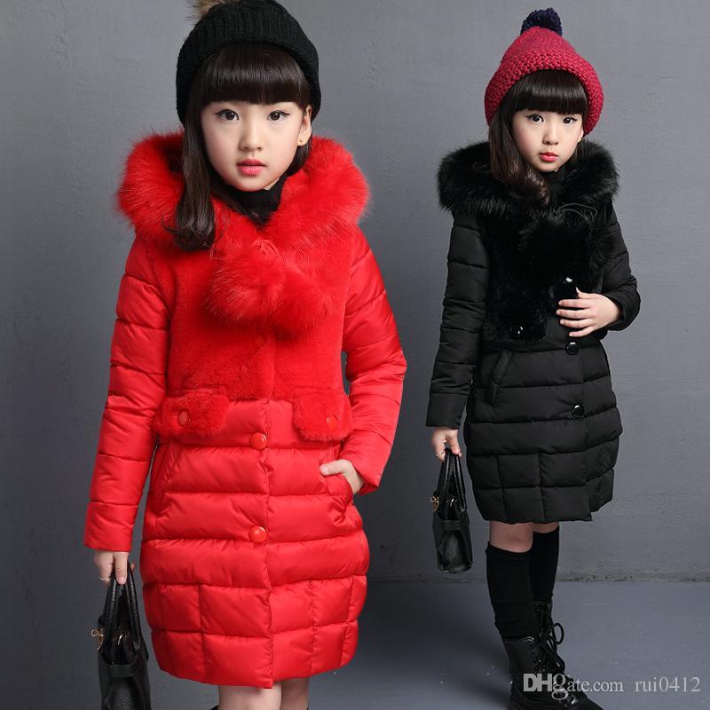 9df3149410a4 2017 New Girls Winter Warm Long Coat Kids Jacket Kids Fashion ...