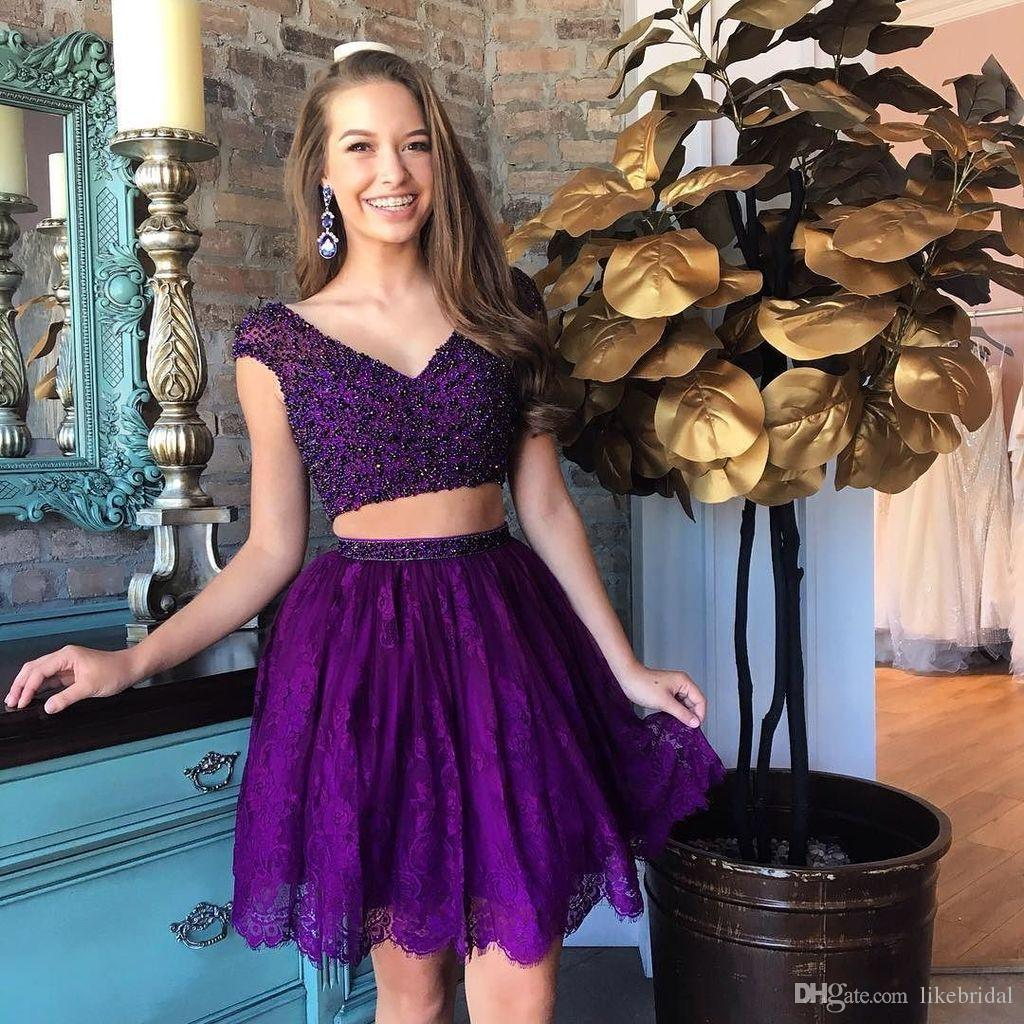 Popular Girls Party Dress A Line Cap Sleeve Delicate Two Piece Homecoming Dress V Neck Beading Lace Short Purple Vestido de Festa Curto