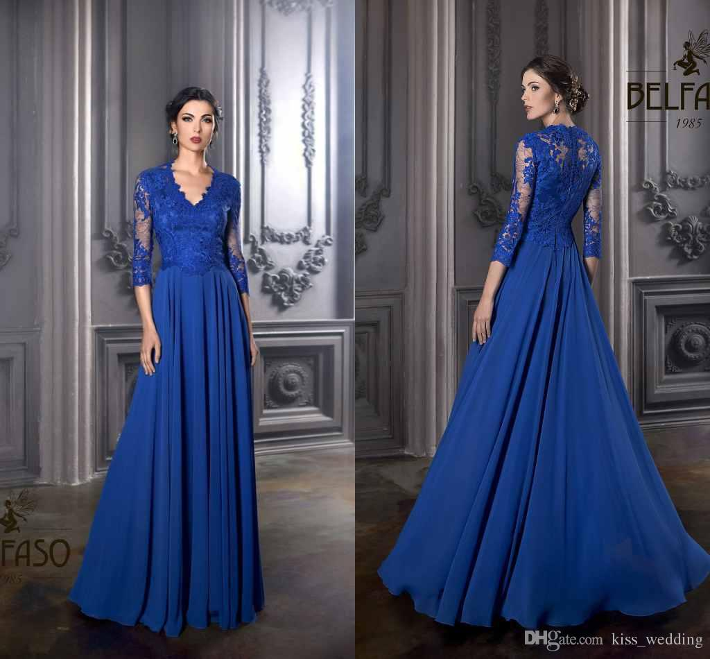 Modern Royal Blue Lace Mother DPf The Bride Dresses A Line