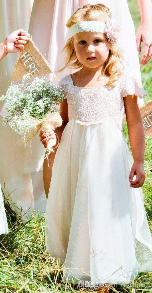 Güzel Şifon Çiçek Kız Elbise Düğün İçin Dantel Üst Çocuk Örgün Gelinlik Kanat İlk Communion ile Doğum Günü Elbise Çocuklar Abiye