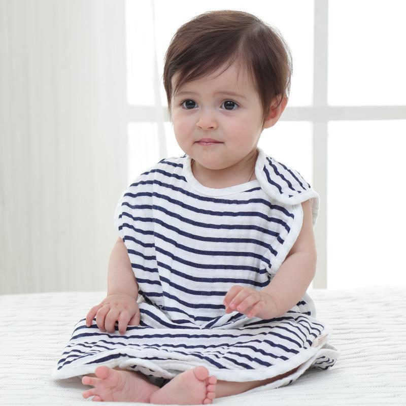 Baby 4 Layer MUSLIN Cotton Gauze Sleeping Bag Vest Type Air Conditioning Anti Kick Children Muslin