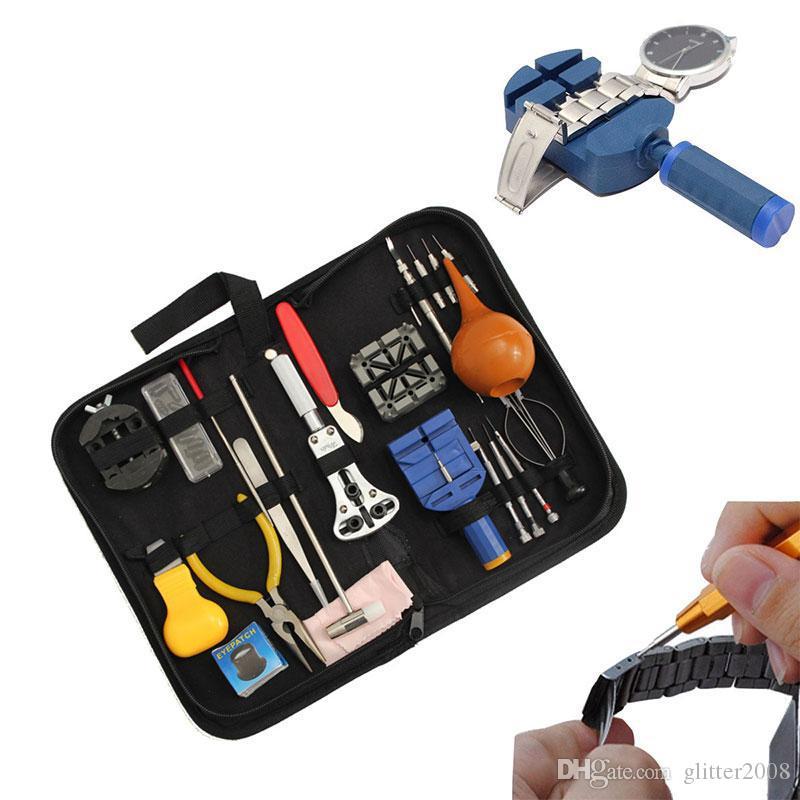 Uhr-Reparatur-Werkzeug-Installationssatz-Öffner-Verbindungs-Frühlings-Stab-Remover, der Kasten für Uhrmacher-Uhrreparaturwerkzeug glitter2008 trägt