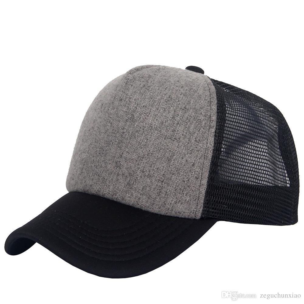 eaf66b2d New Polyester Mesh Hat Blank Trucker Caps Adjustable Sports Baseball ...
